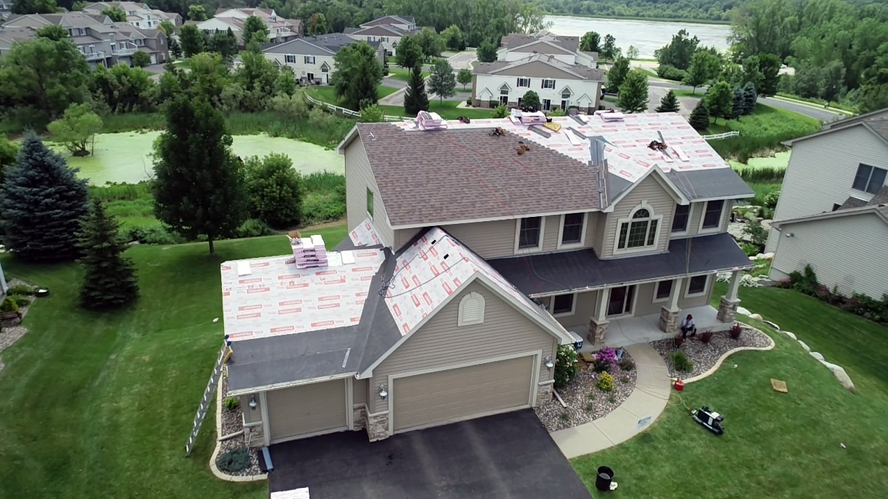 aerial view of residential roofing project by lakestar contractors